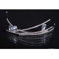 casamento de tiara simples venda por atacado-Strass cristal simples elegante casamento Nupcial headband do cabelo acessório Sparkle Pageant Prom Party Cristal tiara 2016