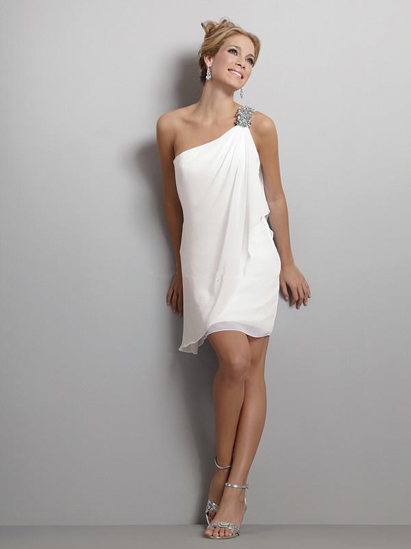 Beautiful white short wedding dress cocktail dress homecoming dress party dress one shoulder chiffon