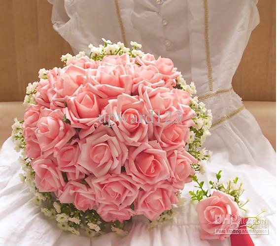 Wedding Bouquet Artificial Pink Rose Flowers ,Bridal Throw Bouquet ...