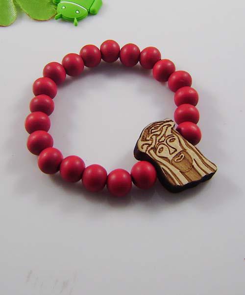 Hiphop Jewelry Wooden Bracelet Good Wood Beads Old Men Pendant Unisex 4 Colors Mixed 12pcs/lot