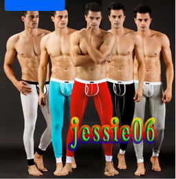 Wholesale Wholesale Thermal Long Johns - NEW Men's SEXY Thermal Long Johns Underwear Pants winter Warm Trousers Five Colors Size S M L Gift