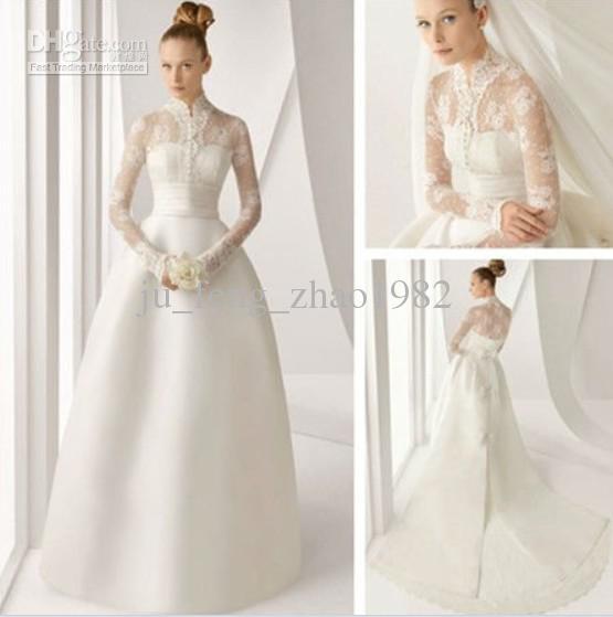 Discount Latest Design Long Sleeve Lace 395 Satin Royal Wedding ...