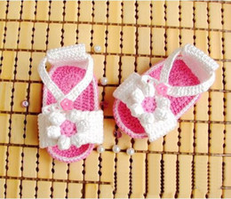 Wholesale Baby Yarn Sandals - Cotton yarn production baby shoes,baby girl wool sandals floor shoes crochet 0-24M toddler shoes