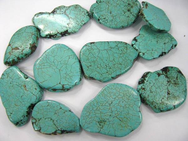 Gergous nugget serbest biçimli döşeme düz mavi yeşil renkli turkuaz taş takı boncuk 25-45mm