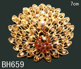 Wholesale Indian Peacock Brooch - fashion jewelry costume jewelry golden peacock brooch crystal rhinestone brooch alloy brooch jewelry Free shipping 12pcs lot mixed colBH659