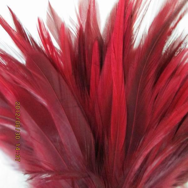 Gratis verzending 200 stks / partij wijn rode haan veren voor bruiloft partij prestaties sieraden craft diy trim boa feather ca. 10-15cm