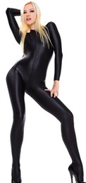 Wholesale Zentai Silver - free shipping women latex Sexy Suit Lycra Spandex Zentai Catsuit Costume