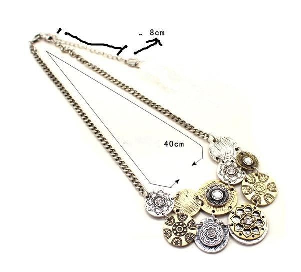 Retro även cirkel halsband metall mönster kombinationer halsband