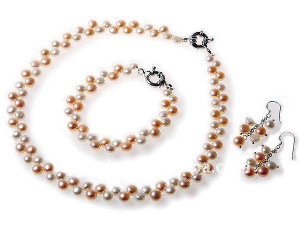 Neu kommen Sie Perlen-Schmucksache-Set AA6-8MM weiße rosafarbene natürliche Frischwasserperlen-Halsketten-Armband-Ohrring an
