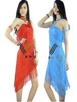 Wholesale Stage Clothing Gold - 7 Colors Stage Clothing Latin dance Costume Full Tassels one shoulder 3 pcs  set dresses