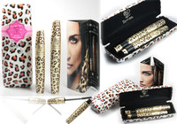 faser wimperntusche leopard großhandel-2 In 1 Wimperntuschenset Magic Leopard Lashes Fibre Mascara Brush Eye Schwarz Lange Makeup Wimpernzüchter