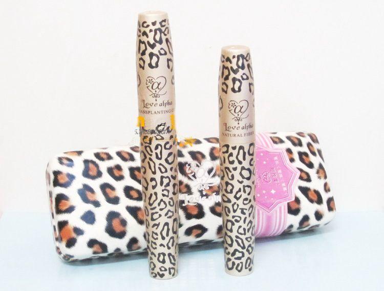 2 In 1 Mascara Set Magic Leopard Lashes Fiber Mascara Brush Eye Black Long Makeup Eyelash Grower