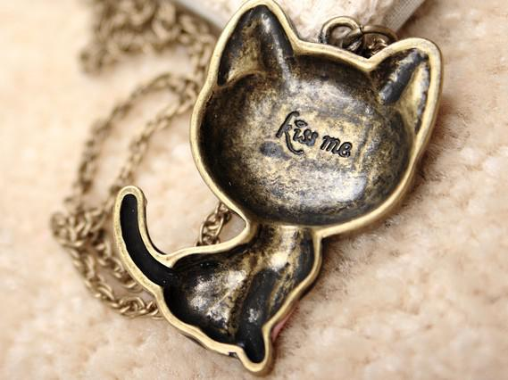 Free Shipping 15pcs* black drop of oil paint kitty necklace smiling cat necklace sweater chain