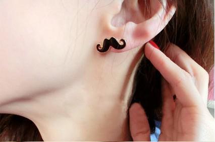 Ny ankomst vintage söt sexig mustasch skägg stud örhängen smycken kvinnor stilig 40pair / mycket
