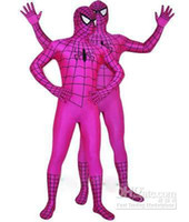 Wholesale Spiderman Latex - latex Lycra Spiderman Hero Zentai Unisex Costume--cool #831310