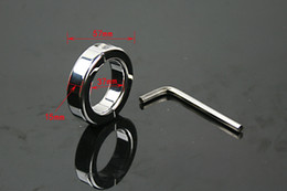 Wholesale Metal Cb Device - 100%real Stainless Steel Ball Stretcher Scrotum Bondage Metal CB Chastity Device Male Adult Products
