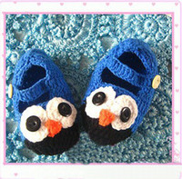 Wholesale Owl Crocheted Baby Shoes - Crochet baby shoes cartoon owl wool shoes infant walker toddler shoes 0-24M 24pcs lot