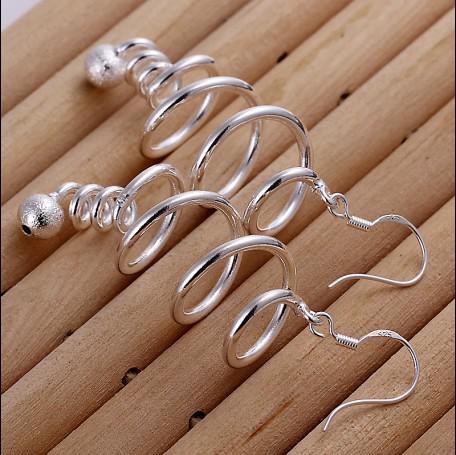 100% helt ny högkvalitativ 925 silver roterande droppe örhängen mode smycken gratis frakt 10pair
