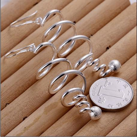 100% brand new alta qualidade 925 prata girando brincos de queda de jóias da moda frete grátis 10 par