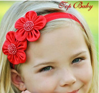 Wholesale Childrens Flower Tops - TOP BABY Girls Hair Ornaments Babys Girl's Cotton Flower Headbands Childrens Hairband Hair Accessori