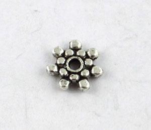 400 st tibetanska silvermetall daisy spacer pärlor 8,5 mm A8251