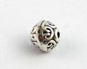 prata tibetana de metal em espiral coração rodada spacer beads a8398