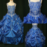 Wholesale Red Special Occassion Dresses - 2015 New Flower Girls Pageant Dresses cute crystal beaded organza A-line dark blue special occassion Little Girls Pageant Gowns FE-009