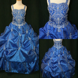 Wholesale Silver Special Occassion Dresses - 2015 New Flower Girls Pageant Dresses cute crystal beaded organza A-line dark blue special occassion Little Girls Pageant Gowns FE-009