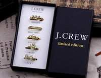 Wholesale Girl Tin Box - Fashion Women girl Gold Tone diamond Set Rings with Gift Box clover crown pearl bowknot rings weeding charm jewelry sets filler bag