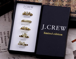 Wholesale Three Stone Pearl Ring - Fashion Women girl Gold Tone diamond Set Rings with Gift Box clover crown pearl bowknot rings weeding charm jewelry sets filler bag