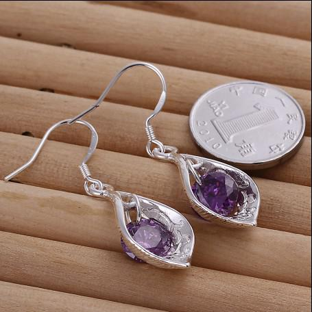 Más vendido 925 pendientes de gota de concha de circonio incrustaciones de plata joyería de moda de alta calidad envío gratis
