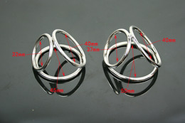 Wholesale Three Cock Rings - Wholesale-Three Cock Ring Male Stainless Steel Phallic Ring Metal Penis&Scrotum Delay Ring Chastity
