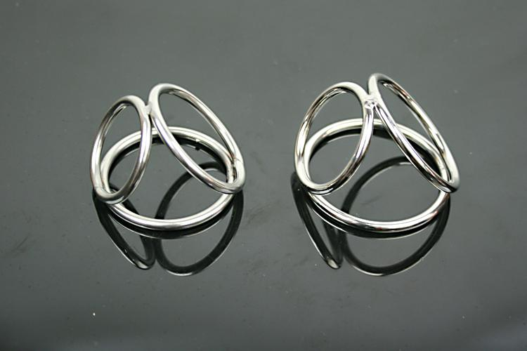 Wholesale-Three Cock Ring Male Stainless Steel Phallic Ring Metal Penis&Scrotum Delay Ring Chastity