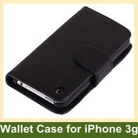 Wholesale Iphone 3g Cover Leather - Wholesale Wallet Case ID Credit Card Cover PU Flip Leather Case for iPhone 3G Free Shippin