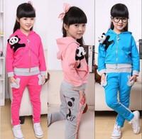 Wholesale Children Panda Suit - children 2016 autumn girls panda suit girl's long-sleeved zipper hooded coat+ pants 2pieces suits