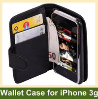 Wholesale Iphone 3g Leather Wallet - Wholesale Wallet Case PU Flip Leather Case for iPhone 3G 50pcs lot Free Shipping