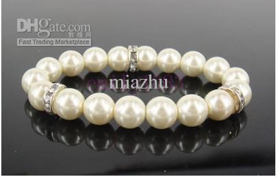 Spring Nieuwe Mode-sieraden 20 stks Simple Ivory Pearl Bridal Armband Chain Wedding Crystal Beads Armbanden