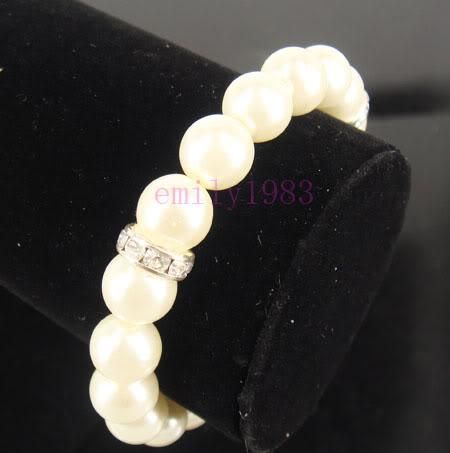 Frühlings-neue Art- und Weiseschmucksachen einfaches Elfenbein-Perlen-Brautarmband-Ketten-Hochzeits-Kristall bördelt Armbänder