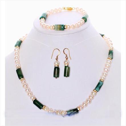 El nuevo llega AA6-15MM 18 '' Conjunto de la joyería del pendiente de la pulsera del collar de la perla de agua dulce blanca de la ágata verde