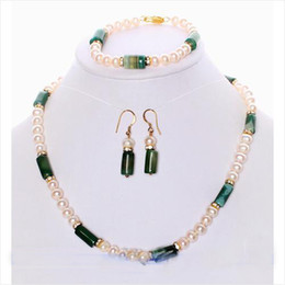 $enCountryForm.capitalKeyWord Australia - New Arrive AA6-15MM 18'' Green Agate White Freshwater Pearl Necklace Bracelet Earring Jewelry Set