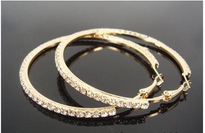 Ny varm försäljning 12 par guldfärg stor klar kristall örhänge hoop cirkel