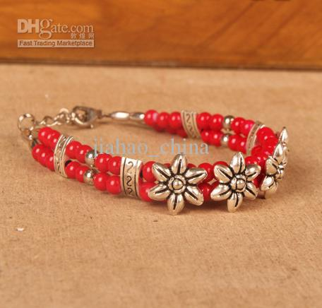 Tibetaanse herstel oude manieren Armband Modieuze nieuwe lengte 20 centimeter rood bluejw018