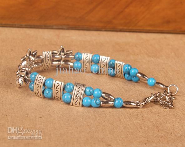 Tibétaine restaurer des moyens anciens bracelet à la mode nouvelle longueur 20 cm blueJW018 en rouge