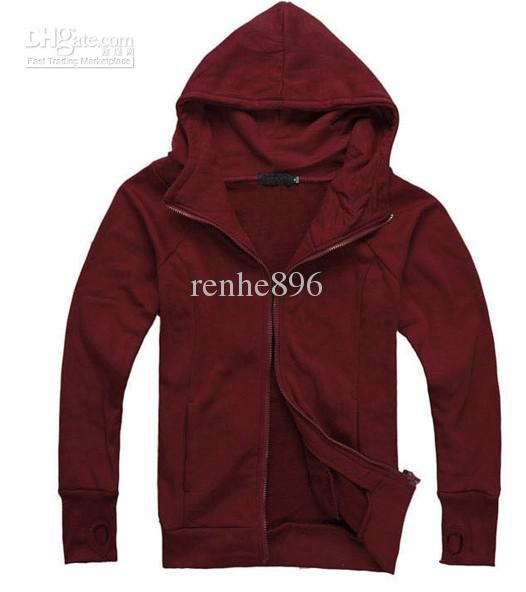201205 Red Wine Men'S Casual Jacket Hedging Slim Hooded Sweater ...