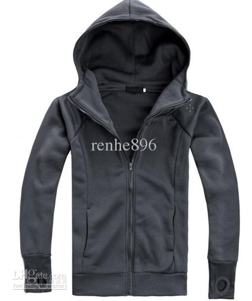 201205 Dark Gray Men'S Casual Jacket Hedging Slim Hooded Sweater ...