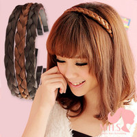 Wholesale Wholesale American Synthetic Wigs - Free shipping-12pcs ladies' hair bands synthetic hair accessories braid headwear 5colors