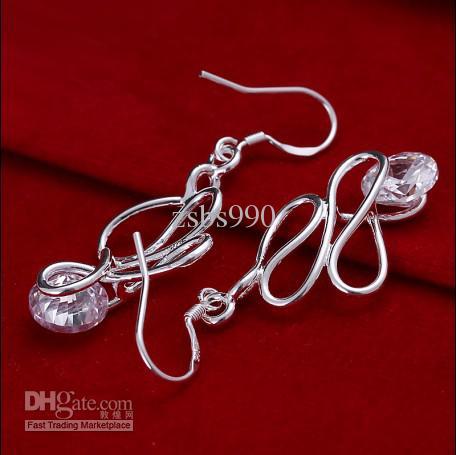 En çok satan popüler 925 gümüş kakma zirkon twisted tel bırak küpe moda takı 10 çift / grup