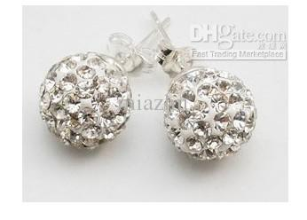 Nieuwe 10mm 925 Sterling Silver Crystal Disco Ball Stud Earring