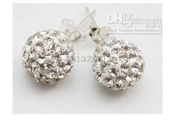 Ny 10mm 925 Sterling Silver Crystal Disco Ball Stud Örhängen