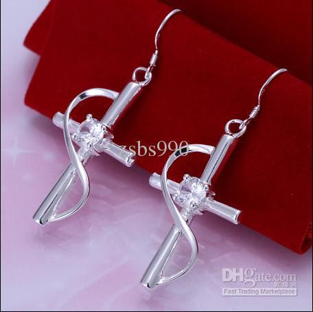 Hot New 925 Silver Inlaid Zircon Cross Drop Earrings Mode Smycken Gratis Frakt 10Pair / Lot
